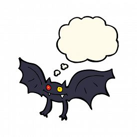 image of vampire bat  - cartoon vampire bat with thought bubble - JPG