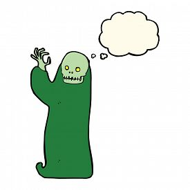 foto of ghoul  - cartoon waving halloween ghoul with thought bubble - JPG