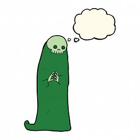 pic of ghoul  - cartoon halloween ghoul with thought bubble - JPG