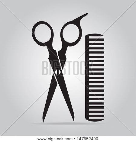 poster of Hair salon with scissors and comb icon vector illustration