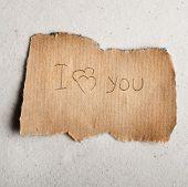 Declaration of love on sheet.