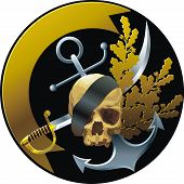 pic of frontlet  - Piratical style emblem with skull and ribbon - JPG