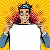 Wow Pop Art Man. Young Happy Surprised Man In Glasses With Open Smile Holding Empty Poster. Vector I poster