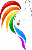 Rainbow bird creative design - vector