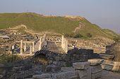 Ancient Pillars Of Ruined Roman Temple In Beit Shean (scythopolis), Israel.