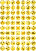 Illustrations of Web icons in yellow