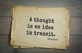 TOP-25. Pythagoras (Greek philosopher, mathematician and mystic) quote.A thought is an idea in tran poster