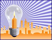 The birth of an idea in the business world work represented by a light bulb over a skyline - VECTOR