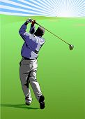 Jogador de golfe bater uma bola de golfe direto para o verde - vetor