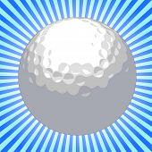 Golf ball over sunburst background - VECTOR