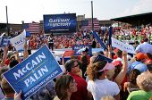 O'FALLON - AUGUST 31: Crowds hold signs at a McCain - Palin rally in O'Fallon near St. Louis, MO on August 31, 2008