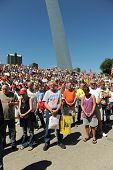 SAINT LOUIS, MISSOURI - SEPTEMBER 12: Opening Prayer at Rally of the Tea Party Patriots in Downtown