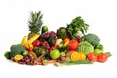 picture of fruits vegetables  - Fresh fruits and vegetables over white background - JPG