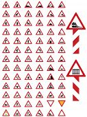 80 various illustrated traffic or road warning signs