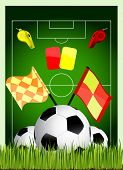 vector illustration soccer field with ball cards offside flag and whistle