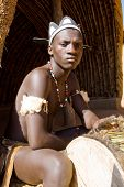 stock photo of zulu  - african zulu drum player - JPG