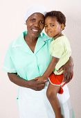 happy african american mother or babysitter with a child
