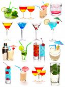 Vielen Cocktails, isolated on white background