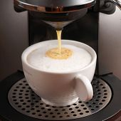 Making cappuccino with coffee machine