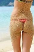 Woman on a beach in bikini with a sandy back