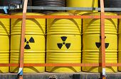 stock photo of girth  - Barrels for radioactive waste at anti - JPG