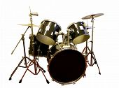 image of drum-set  - drum set isolated in black and white - JPG