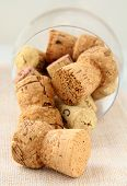 cork from bottles of wine in the glass