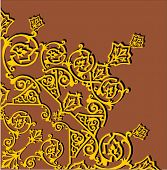 illustration with gold quadrant ornament on brown background