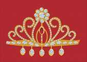 illustration with gold diadem isolated on red background
