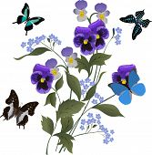 illustration with blue flowers and butterflies on white background