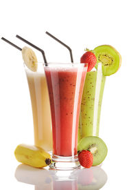 stock photo of fruit shake  - Smoothies isolated on white  - JPG