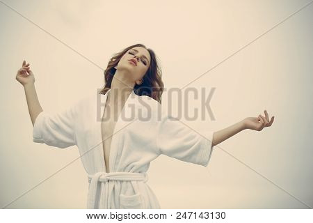 poster of Carefree Beauty At Home. Woman With Closed Eyes Relax In Bathrobe. Young Woman With Makeup And Fresh