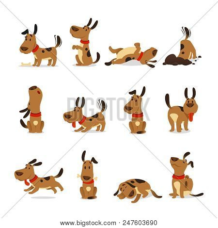 poster of Cartoon Dog Set. Dogs Tricks Icons And Action Training Digging Dirt Eating Pet Food Jumping Wiggle S