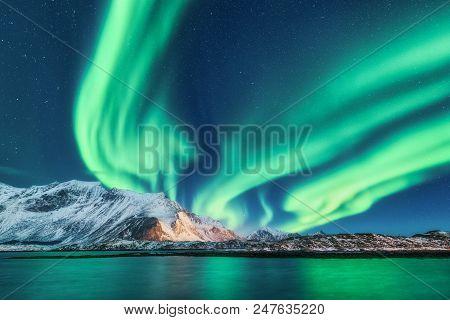 Green Northern Lights In Lofoten