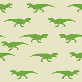 Dinosaur Tyrannosaurus Silhouette Pattern Seamless. Vector Illustration. Green Dinosaurs On Gray Bac poster