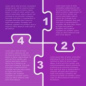 Four Purple Piece Puzzle Infographic Presentation. 4 Step Puzzle Square Business Diagram. Four Secti poster