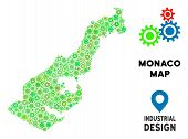 Gear Monaco Map Mosaic Of Small Cogwheels. Abstract Territory Scheme In Green Color Tinges. Vector M poster