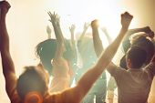 Nightlife And Disco Concept. Young People Are Dancing In Club Or Outdoor In Sunlight. Happiness, Hol poster