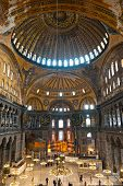 The Beautiful Decorated Cupola Of Hagia Sophia Mosque, Istanbul, Turkey.
