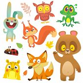 Cartoon Forest Animals Characters Set.vector Illustration. Big Set Of Cartoon Woodland Animals Illus poster