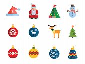 Christmas Icon Set. Decorated Tree Santa Claus Snowman Santa Hat Reindeer Christmas Ball Fir Tree Ba poster
