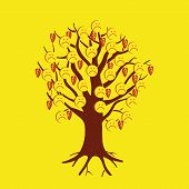 Face Sign Icon, Vector Illustration. Flat Design Style. A Tree With Sad Faces-smileys. poster