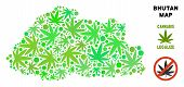Royalty Free Marijuana Bhutan Map Mosaic Of Weed Leaves. Template For Narcotic Addiction Campaign Ag poster