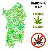 Royalty Free Marijuana Italian Sardinia Island Map Mosaic Of Weed Leaves. Concept For Narcotic Addic poster