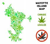 Royalty Free Marijuana Mayotte Island Map Composition Of Weed Leaves. Template For Narcotic Addictio poster