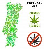 Royalty Free Cannabis Portugal Map Mosaic Of Weed Leaves. Template For Narcotic Addiction Campaign A poster