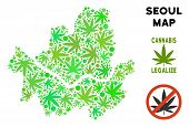Royalty Free Cannabis Seoul City Map Composition Of Weed Leaves. Concept For Narcotic Addiction Camp poster