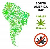 Royalty Free Cannabis South America Map Mosaic Of Weed Leaves. Template For Narcotic Addiction Campa poster