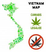 Royalty Free Cannabis Vietnam Map Composition Of Weed Leaves. Concept For Narcotic Addiction Campaig poster