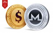 Monero. Dollar Coin. 3d Isometric Physical Coins. Digital Currency. Cryptocurrency. Golden And Silve poster